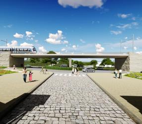 Agrandir Perspective du pont-rail, en face de la ferme de Gally à Saint-Cyr-l'Ecole