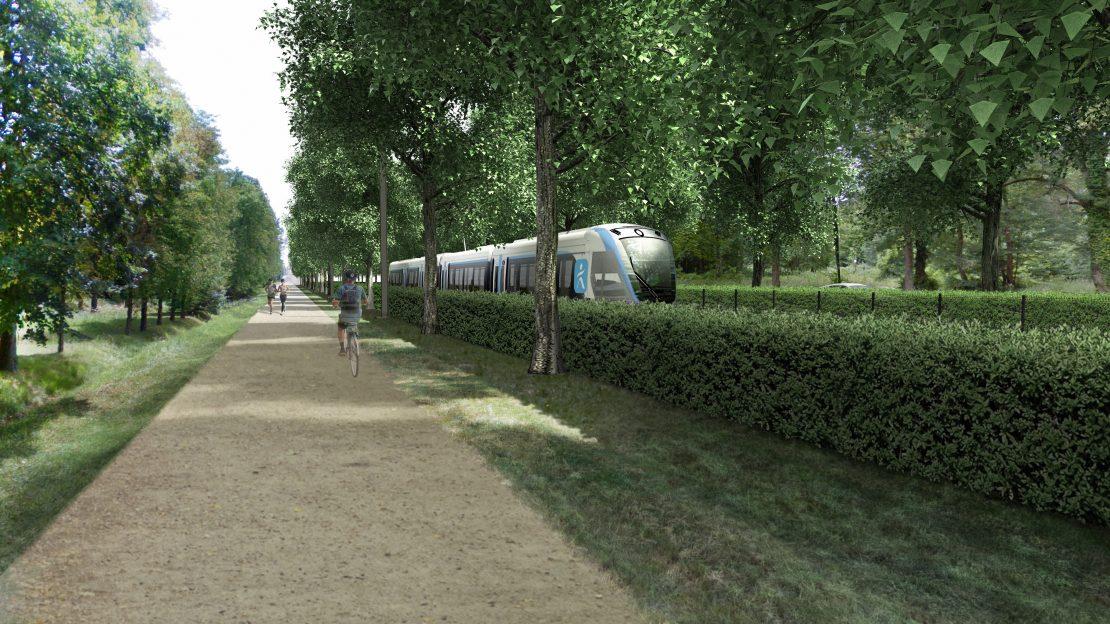 Tram T13 sur l'avenue des Loges à Saint-Germain