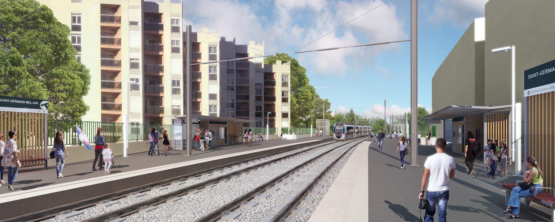 Perspective de la station Fourqueux - BelAir