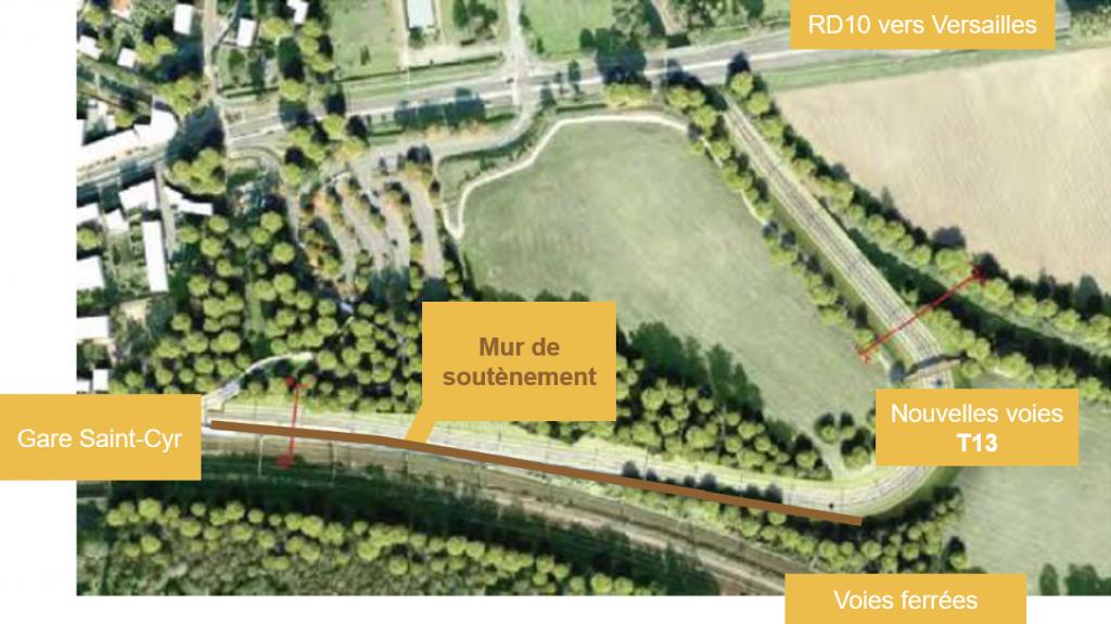 Mur de soutènement virgule de Saint-Cyr
