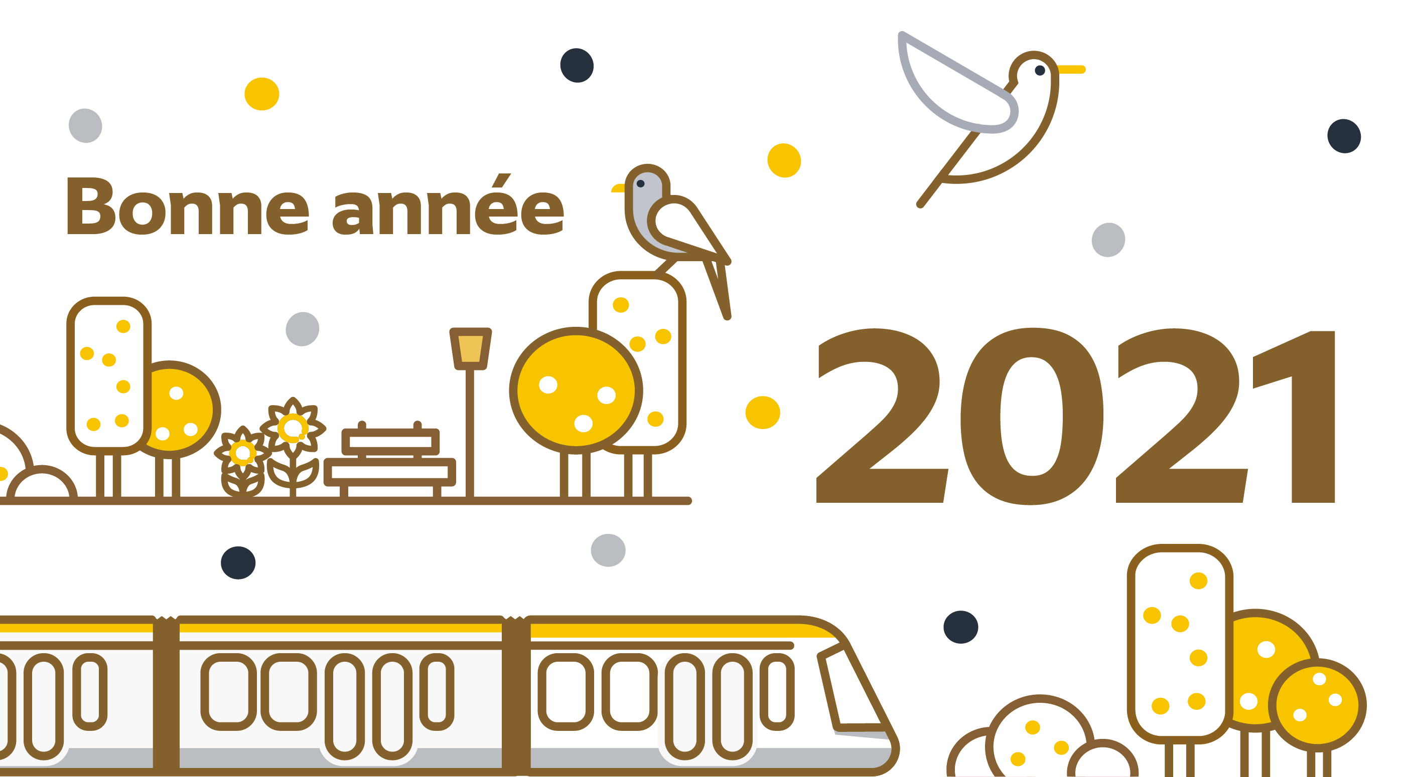 L'équipe du tram T13 vous souhaite une bonne année 2021